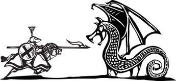 Opgezette Ridder en Draak Stock Foto