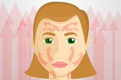 Opheffende het conceptenbanner van het vrouwengezicht, beeldverhaalstijl stock illustratie