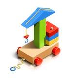 Opheffende kraan, houten stuk speelgoed Stock Fotografie