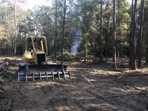 Ophelderings bosland met bulldozer stock fotografie