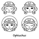Ophiuchus astrology sign. Outlina illustration. Ophiuchus astrology sign. 13 sign astrology. Set of horoscope signs as women. Zodiac for girls. Vector vector illustration