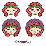 Ophiuchus astrology sign. Vector illustration. Ophiuchus astrology sign. 13 sign astrology. Set of horoscope signs as women. Zodiac for girls. Vector vector illustration