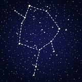 Ophiuchus Zodiac sign constellation. Ophiuchus, thirteenth hand drawn Zodiac sign constellation in white over dark blue starry night sky. Vector graphics Royalty Free Stock Photos
