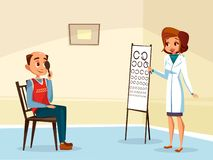 ophtalmogogist eyesight testing concept vector illustration