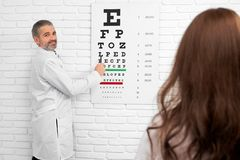 Eye doctor examining eyesight of patient with eye chart. stock image