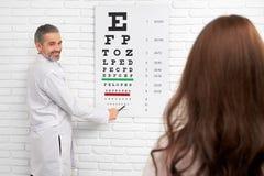 Ophtalmologist que aponta na carta de olho do teste foto de stock