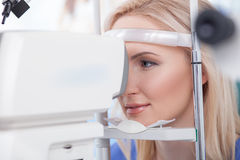 Ophtalmology diopters calibration in oculist lab Royalty Free Stock Photography