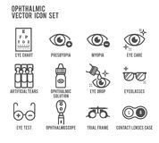 Ophthalmic Eye Care Vector Icon Set. Ophthalmic Eye Care Line Icon Stock Photo