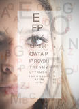 Ophthalmic visit. Closeup of a woman's face with ophthalmic table on the background Stock Photos