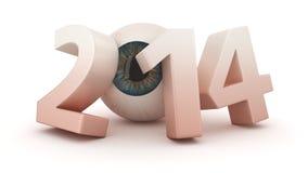 Ophthalmologic 2014 year. Big digits 2014 with eye Stock Photography