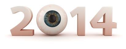 Ophthalmologic year. Big digits 2014 with human eye Royalty Free Stock Photo