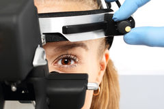 Ophthalmologist - binocular sight glass, ophthalmoscope Royalty Free Stock Photo