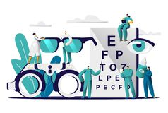 Ophthalmologist Doctor Test Myopia Eye. Male Oculist with Pointer Checkup Optometry for Eyeglasses. Medical Optician. Team hold Eyewear, Drop for Treatment Flat royalty free illustration