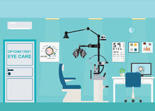 Ophthalmologist Interior Office With Phoropter. Royalty Free Stock Photos