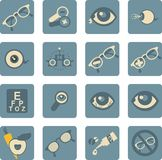 Ophthalmologist set of icons royalty free illustration