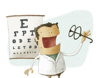 Ophthalmologist take glasses Stock Photo