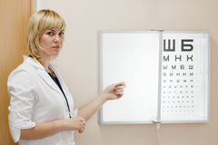 Ophthalmologist testing  eyesight Royalty Free Stock Images