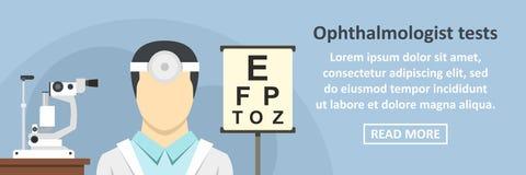 Ophthalmologist tests banner horizontal concept. Flat illustration of ophthalmologist tests banner horizontal vector concept for web Stock Photo