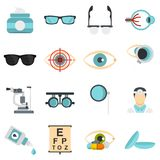 Ophthalmologist tools set flat icons. Ophthalmologist tools set icons in flat style isolated on white background Royalty Free Stock Image