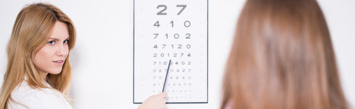 Ophthalmologist using Snellen chart Stock Image