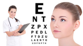 Ophthalmology concept - beautiful woman, doctor and eye test chart isolated on white. Background stock images