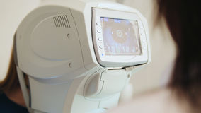 Ophthalmology concept - generic eye scanner machine for optometrist Stock Photography