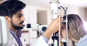 Ophthalmology concept. Patient eye vision examination in ophthalmological clinic. Ophthalmology concept. Patient eye vision examination in eyesight Stock Image
