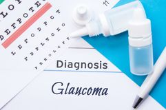 Ophthalmology diagnosis Glaucoma. Snellen eye chart, two bottles of eye drops  medications lying on notebook with inscription Royalty Free Stock Photography
