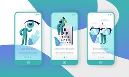 Ophthalmology Doctor Test Eyesight on Text Board Mobile App Page Onboard Screen Set. Professional Oculist Character. Analysis Eye Health. Treatment Eyewear royalty free illustration