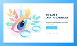 Ophthalmology eye care concept. Vector isometric illustration of human eye and contact lenses. Banner design template. Ophthalmology and eye care concept. Vector stock illustration