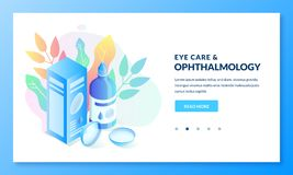 Ophthalmology and eye care, isometric gradient illustration. Landing page or banner design template. For medicine and healthcare themes. Contact lenses box and vector illustration