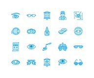 Ophthalmology, eyes health care line icons. Optometry equipment, contact lenses, glasses, blindness. Vision correction Royalty Free Stock Images