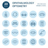 Ophthalmology, eyes health care line icons. Optometry equipment, contact lenses, glasses, blindness. Vision correction Royalty Free Stock Photography