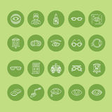 Ophthalmology, eyes health care line icons. Optometry equipment, contact lenses, glasses, blindness. Vision correction Stock Images