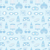 Ophthalmology, eyes health care seamless pattern, medical vector blue background. Optometry equipment, contact lenses Stock Photo