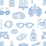 Ophthalmology, eyes health care seamless pattern, medical vector blue background. Optometry equipment, contact lenses Royalty Free Stock Images