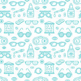 Ophthalmology, eyes health care seamless pattern, medical vector blue background. Optometry equipment, contact lenses Stock Images