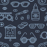 Ophthalmology, eyes health care seamless pattern, medical vector dark background. Optometry equipment, contact lenses Stock Photo