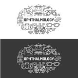 Ophthalmology, medical banner illustration. Eyes health care vector flat line icons of optometry equipment, contact Royalty Free Stock Photos