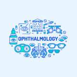 Ophthalmology, medical banner illustration. Eyes health care vector line icons of optometry equipment, contact lenses. Glasses. Healthcare brochure, poster Royalty Free Stock Images
