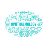 Ophthalmology, medical banner illustration. Eyes health care vector line icons of optometry equipment, contact lenses Royalty Free Stock Photography