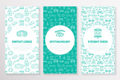 Ophthalmology, medical brochure template, flyer. Eye health care thin line icons contact lenses, eyesight check. Cute. Illustration for hospital poster. Vector Royalty Free Stock Photography
