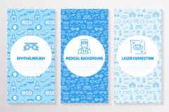 Ophthalmology, medical brochure template, flyer. Eye health care thin line icons laser vision correction, eyesight check. Doctor. Cute illustration for Royalty Free Stock Photo
