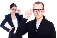 Ophthalmology and optometry concept - business man and woman in Stock Photo