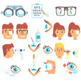 Ophthalmology Problem And Medical Treatment Infographic Cartoon Poster For Ophthalmologist Cabinet. Ophthalmological Tools And Sight Measurement Instruments Royalty Free Stock Images