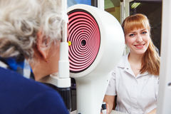 Ophthalmology. senior woman patient under sight testing in clinic Stock Photos