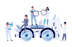 Free Ophthalmology Web Banner With Tiny People Flat Vector Illustration Isolated. Stock Image - 158504291