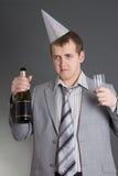 Opiły biznesmen przy birtday przyjęciem Zdjęcia Royalty Free