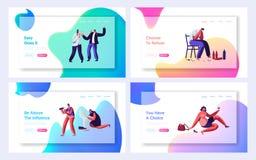Opiły mężczyzn i kobiet strony internetowej lądowania strony set, alkoholu nałogu ludzie Męscy i Żeńscy charaktery Szkodliwych pr ilustracji