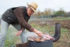 Opieczenia mięso na drewnianej kuchence Zdjęcia Royalty Free